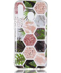Samsung Galaxy A40 TPU Hoesje met Marmer Opdruk Hexagon