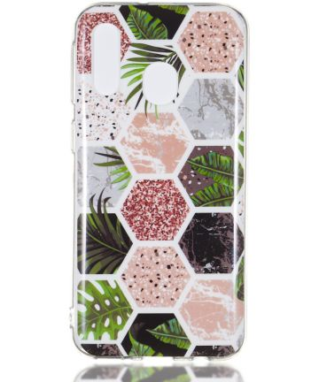 Samsung Galaxy A40 TPU Hoesje met Marmer Opdruk Hexagon Hoesjes