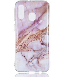 Samsung Galaxy A40 TPU Back Cover met Marmer Print Roze Goud