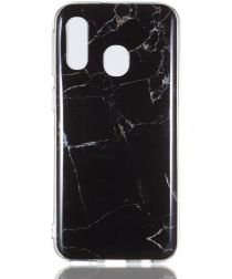 Samsung Galaxy A40 TPU Back Cover met Marmer Print Zwart
