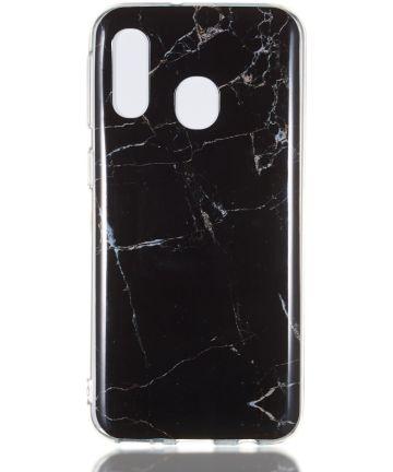 Samsung Galaxy A40 TPU Back Cover met Marmer Print Zwart Hoesjes