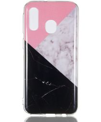 Samsung Galaxy A40 TPU Back Cover met Marmer Print Roze Zwart