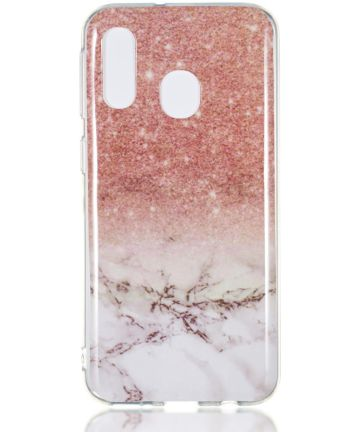 Samsung Galaxy A40 TPU Back Cover met Marmer Print Roze Hoesjes