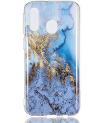 Samsung Galaxy A40 TPU Back Cover met Marmer Print Blauw
