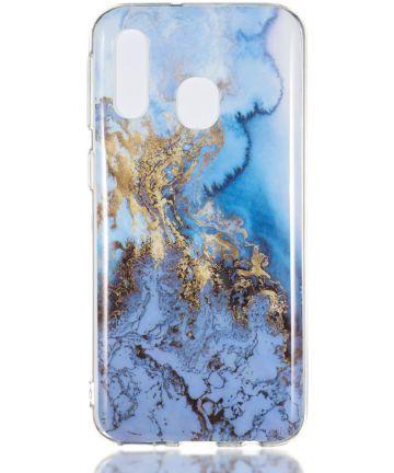 Samsung Galaxy A40 TPU Back Cover met Marmer Print Blauw Hoesjes