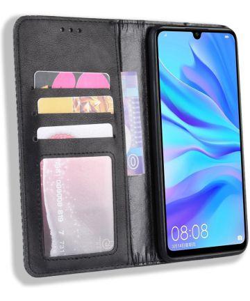 Huawei P Smart Plus 2019 Vintage Portemonnee Hoesje Zwart Hoesjes