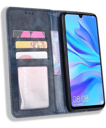Huawei P Smart Plus 2019 Vintage Portemonnee Hoesje Blauw Hoesjes