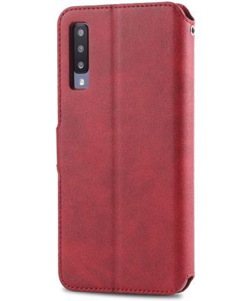 AZNS Samsung Galaxy A50 Book Case Hoesje Wallet Kunst Leer Rood Hoesjes