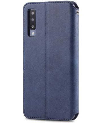 AZNS Samsung Galaxy A50 Book Case Hoesje Wallet Kunst Leer Blauw Hoesjes