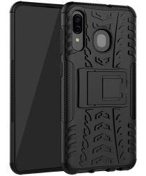 Samsung Galaxy A50 Backcover Hoesje Shockproof Hybride Kickstand Zwart