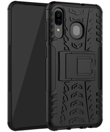 Samsung Galaxy A50 Backcover Hoesje Shockproof Hybride Kickstand Zwart Hoesjes
