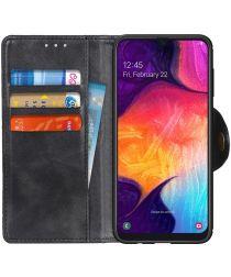 Samsung Galaxy A50 Book Case Hoesje Kunst Leer Wallet Zwart