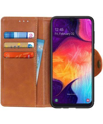 Samsung Galaxy A50 Book Case Hoesje Kunst Leer Wallet Bruin Hoesjes