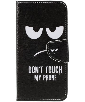 Samsung Galaxy A50 Book Case Hoesje Wallet Print Don't Touch My Phone Hoesjes