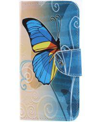 Samsung Galaxy A50 Book Case Hoesje Wallet Print Blauwe Vlinder
