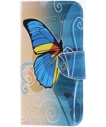 Samsung Galaxy A50 Book Case Hoesje Wallet Print Blauwe Vlinder Hoesjes