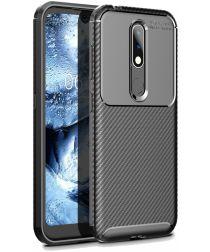 Nokia 4.2 Siliconen Carbon Hoesje Zwart