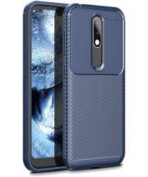 Nokia 4.2 Siliconen Carbon Hoesje Blauw