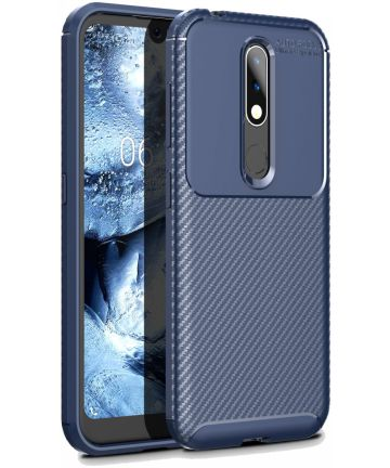 Nokia 4.2 Siliconen Carbon Hoesje Blauw Hoesjes