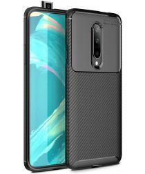 OnePlus 7 Pro Siliconen Carbon Hoesje Zwart