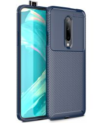 OnePlus 7 Pro Siliconen Carbon Hoesje Blauw