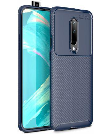 OnePlus 7 Pro Siliconen Carbon Hoesje Blauw Hoesjes
