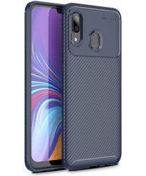 Samsung Galaxy A40 Siliconen Carbon Hoesje Blauw