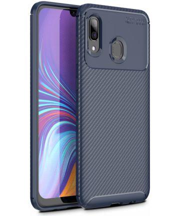 Samsung Galaxy A40 Siliconen Carbon Hoesje Blauw Hoesjes