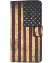 Samsung Galaxy A50 Book case Hoesje Wallet Kunst Leer Amerikaanse Vlag