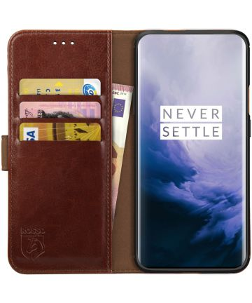 Rosso Element OnePlus 7 Pro Hoesje Book Cover Bruin Hoesjes