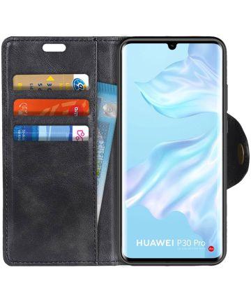 Huawei P30 Pro Portemonnee Stand Hoesje Zwart Hoesjes