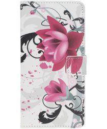 Samsung Galaxy A40 Portemonnee Hoesje met Print Purple Flowers