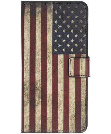 Samsung Galaxy A40 Portemonnee Hoesje met Print Amerikaanse Vlag