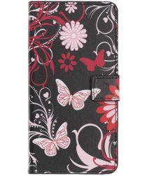Samsung Galaxy A40 Portemonnee Hoesje met Print Butterfly Flower