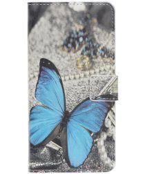 Samsung Galaxy A40 Portemonnee Hoesje met Print Blauw Vlinder
