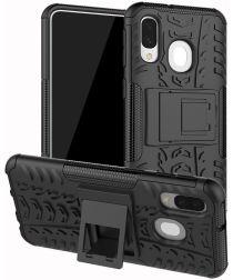 Samsung Galaxy A40 Robuust Hybride Hoesje Zwart