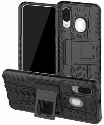 Samsung Galaxy A40 Robuust Hybride Hoesje Zwart Hoesjes