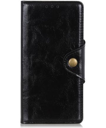 Samsung Galaxy A40 Portemonnee Knoop Hoesje Zwart Hoesjes