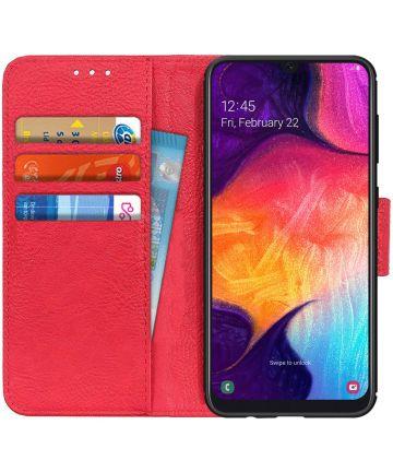 Samsung Galaxy A50 Book Case Hoesje Wallet Stand Kunst Leer Rood Hoesjes