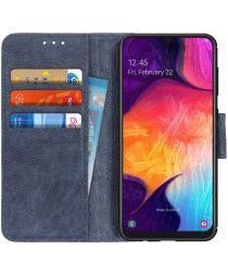 Samsung Galaxy A50 Book Case Hoesje Wallet Stand Kunst Leer Blauw