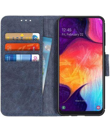 Samsung Galaxy A50 Book Case Hoesje Wallet Stand Kunst Leer Blauw Hoesjes