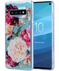 Samsung Galaxy S10 Glitter TPU Hoesje met Print Elegant Flowers