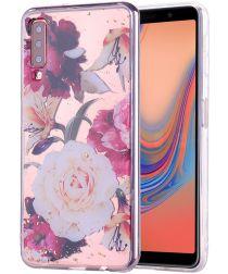 Samsung Galaxy A7 (2018) Glitter TPU Hoesje met Print Elegant Flowers