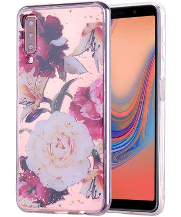 Samsung Galaxy A7 (2018) Glitter TPU Hoesje met Print Elegant Flowers Hoesjes