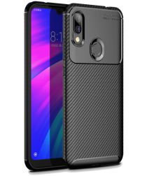 Xiaomi Redmi 7 Siliconen Carbon Hoesje Zwart