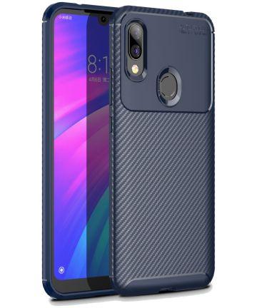 Xiaomi Redmi 7 Siliconen Carbon Hoesje Blauw Hoesjes