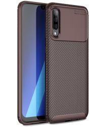 Samsung Galaxy A70 Siliconen Carbon Hoesje Rood