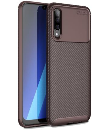 Samsung Galaxy A70 Siliconen Carbon Hoesje Rood Hoesjes