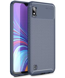 Samsung Galaxy A10 Siliconen Carbon Hoesje Blauw