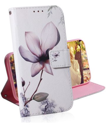 Huawei P30 Portemonnee Hoesje met Print Bloem Hoesjes